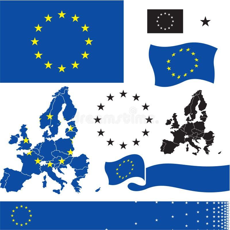 A UE embandeira Mapa dos países da União Europeia Cores padrão ilustração do vetor
