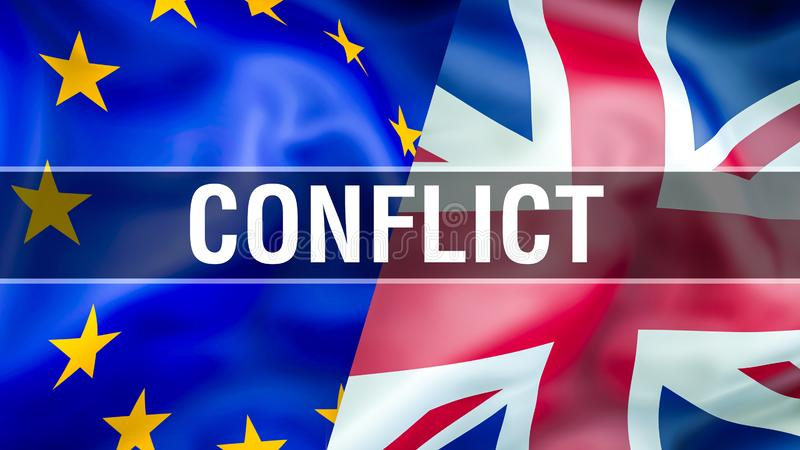 UE et drapeaux BRITANNIQUES Conception de ondulation de drapeau de Brexit 3D Drapeau BRITANNIQUE d'UE, pict illustration de vecteur