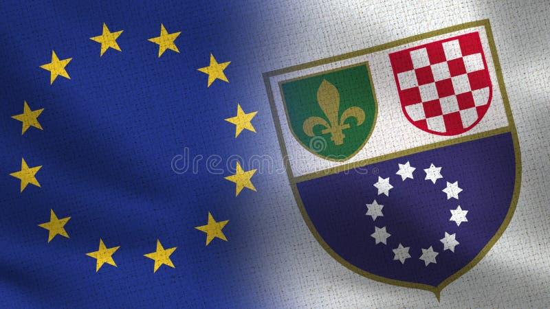 UE et fédération drapeaux réalistes de la Bosnie-Herzégovine de demi ensemble illustration libre de droits