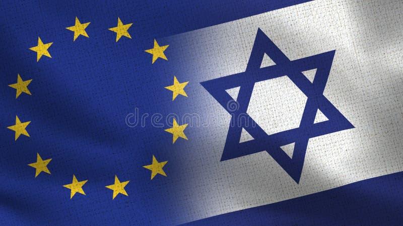 UE et Israel Realistic Half Flags Together illustration libre de droits