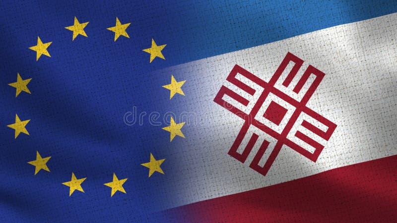 UE et Mari El Realistic Half Flags Together images stock
