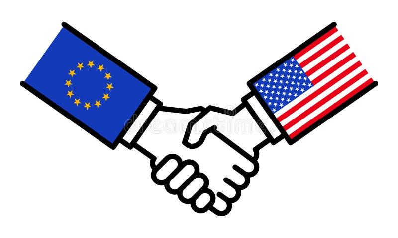 UE Etats-Unis, accord, alliance, affaire d'affaires, amitié, concept, graphique de poignée de main illustration stock