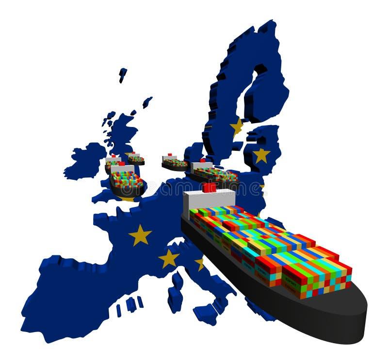 A UE exporta com navios de recipiente ilustração royalty free