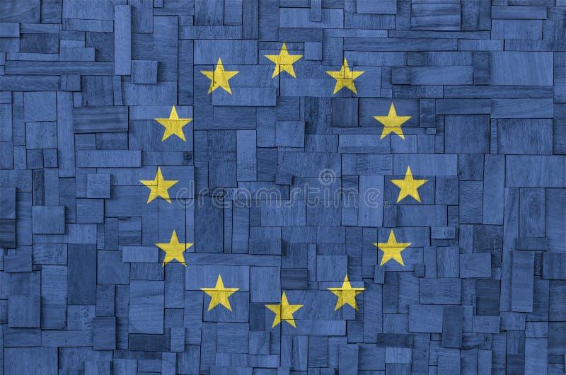 UE flaga na drewnianym tle zdjęcia stock