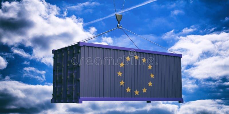 UE flagi zbiornik na chmurnego nieba tle ilustracja 3 d royalty ilustracja