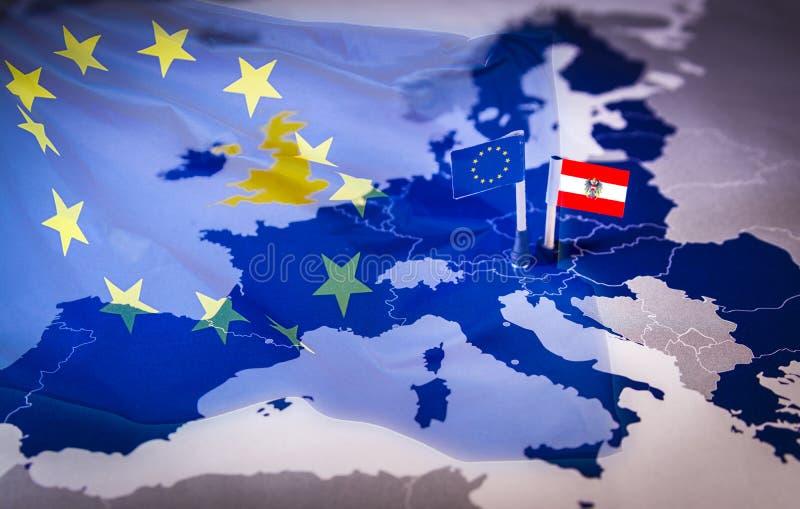 UE i Austria flaga nad europejskiego zjednoczenia mapą obrazy stock