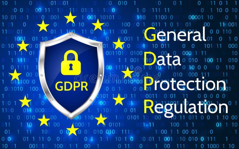 UE Ogólnych dane ochrony przepis eu gdpr wektoru ilustracja ilustracja wektor
