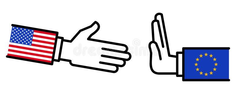 UE que recusa agitar as mãos com EUA, disputa, negociações, relações de negócio, conceito, linha ícones ilustração royalty free