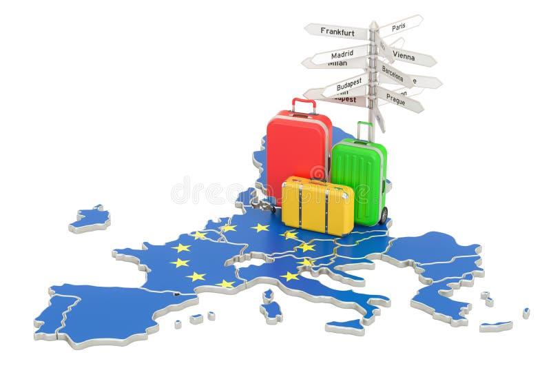 A UE viaja conceito Bandeira da União Europeia no mapa com malas de viagem e ilustração stock