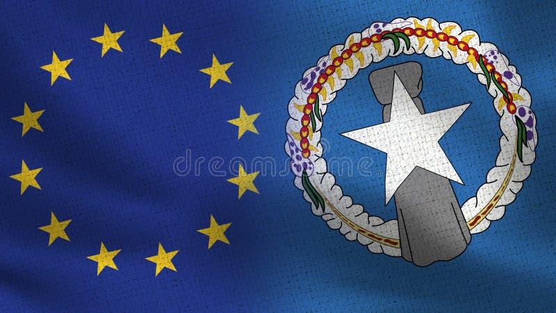 UE y Mariana Islands Realistic Half Flags septentrional junto foto de archivo libre de regalías