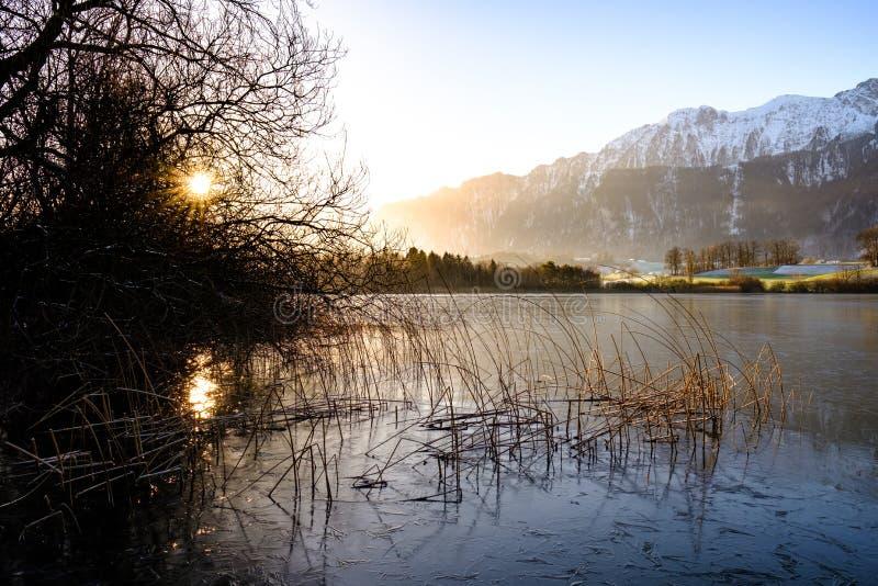 Uebeschisee no sol da manhã - Suíça, Europa imagens de stock
