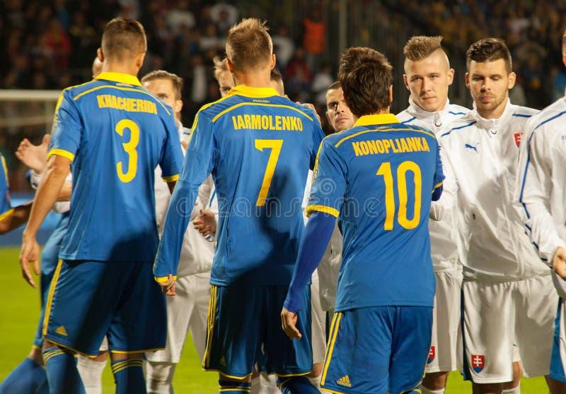 UEFA欧元2016年2015年9月8日的斯洛伐克-乌克兰比赛 库存图片