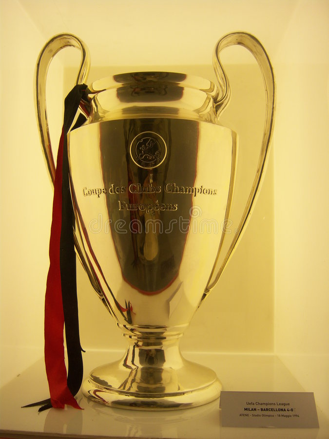 Uefa champions league 1994. The 18 international trophies won by the Italian team of kick, AC Milan, are exposed around for Italy. In this photo the Milan Tour ( royalty free stock images