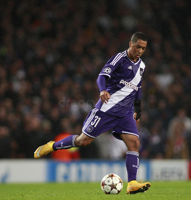 UEFA Champions League Arsenal v Anderlecht. LONDON, ENGLAND - NOV 04 2014: Davy Roef of Anderlecht during the UEFA Champions League match between Arsenal from stock photo