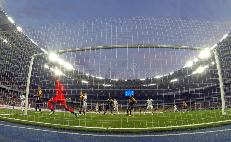 UEFA Champions League: FC Dynamo Kyiv v Young Boys. KYIV, UKRAINE - JULY 26, 2017: FC Dynamo Kyiv players in White attack the Young Boys net during their UEFA royalty free stock image