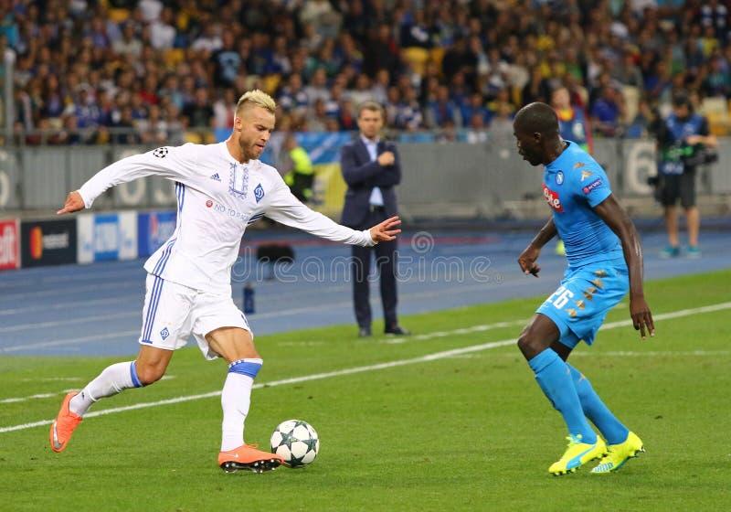 UEFA champions league FC gemowy dynamo Kyiv vs Napoli fotografia stock