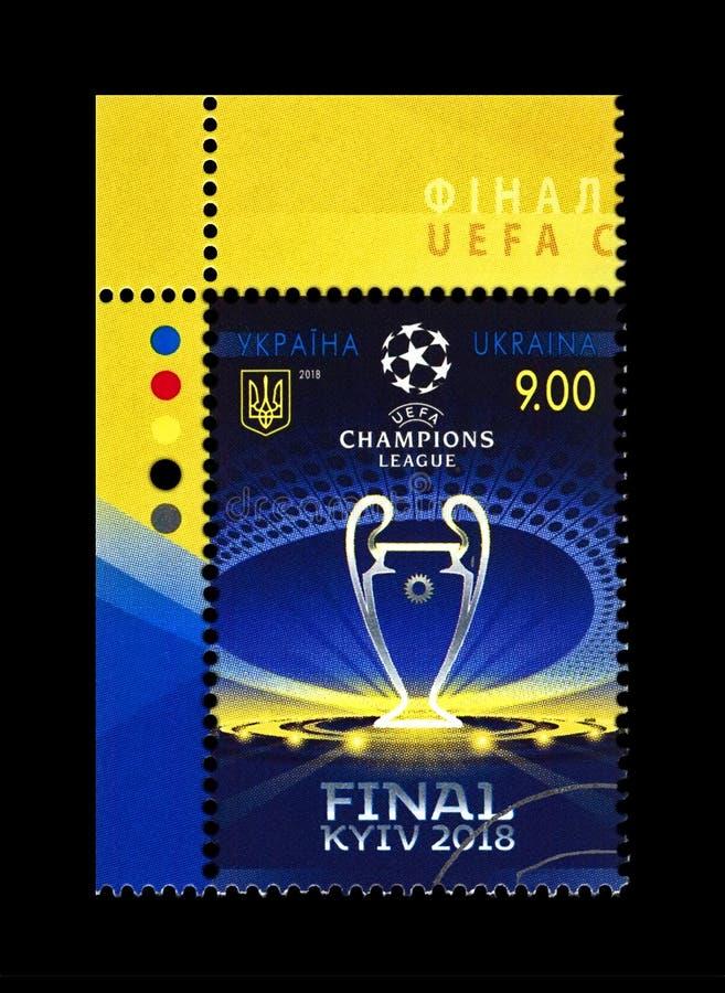 UEFA Champions League Final 2018 CUP in Kiev, Ukraine,. KIEV, UKRAINE - JUN 16: canceled postal stamp printed in Ukraine shows UEFA Champions League Final 2018 stock photos