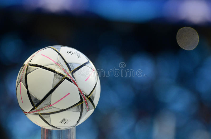 2016 UEFA Champions League Final official ball. UCL 2016 Final official ball pictured on blue background prior to the UEFA Champions League semi-final game stock image