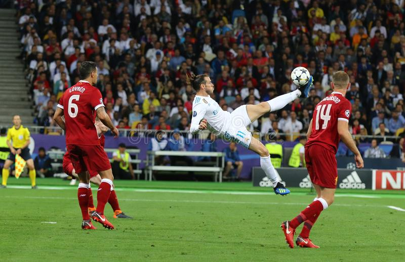 UEFA Champions League Final 2018 Real Madrid v Liverpool, Kiev,. KYIV, UKRAINE - MAY 26, 2018: Gareth Bale of Real Madrid scores a 2nd goal during the UEFA royalty free stock photo
