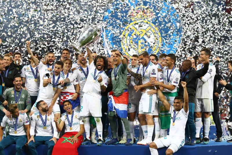 UEFA Champions League Final 2018 Real Madrid v Liverpool, Kiev,. KYIV, UKRAINE - MAY 26, 2018: Real Madrid players celebrate their winning of the UEFA Champions royalty free stock images
