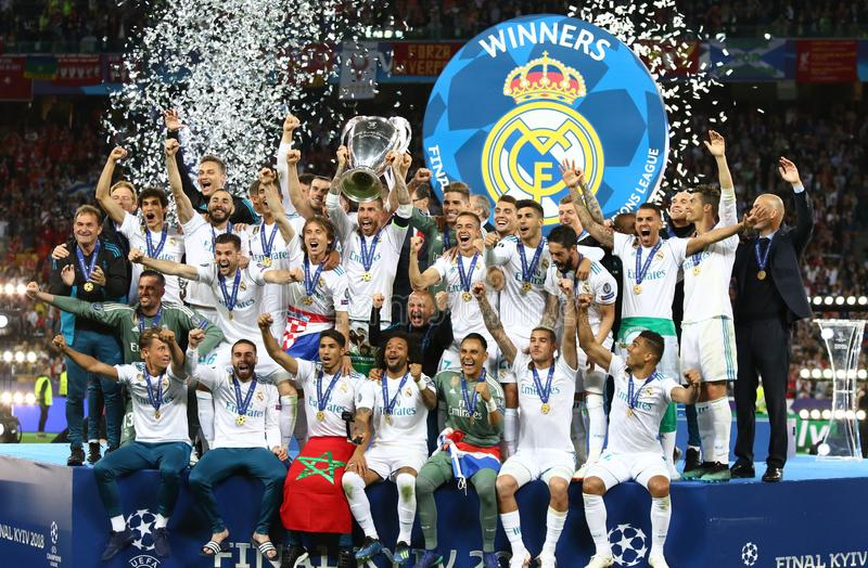 UEFA Champions League Final 2018 Real Madrid v Liverpool. KYIV, UKRAINE - MAY 26, 2018: Real Madrid players celebrate their winning of the UEFA Champions League royalty free stock photo