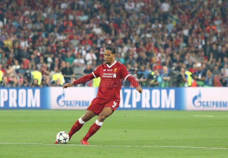 UEFA Champions League Final 2018 Real Madrid v Liverpool. KYIV, UKRAINE - MAY 26, 2018: Virgil Van Dijk of Liverpool in action during the UEFA Champions League stock photography
