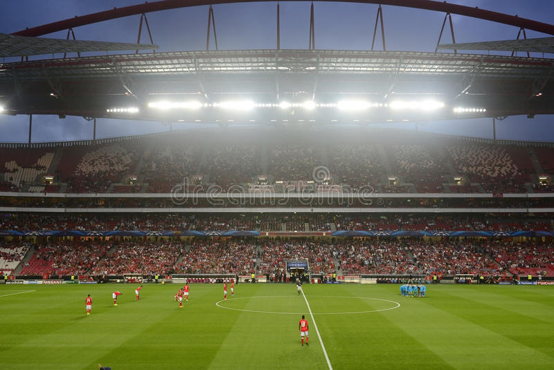 Soccer Stadium, Football Fans Crowd and Players, Night Scene, UEFA Champions League Arena stock images
