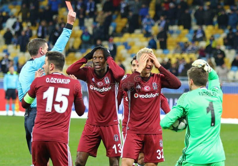 UEFA Champions League game FC Dynamo Kyiv v Besiktas. KYIV, UKRAINE - DECEMBER 6, 2016: Besiktas players react after referee Craig Thomson gave the penalty kick stock photos