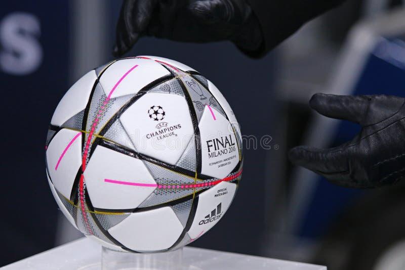 UEFA Champions League game FC Dynamo Kyiv vs Manchester City in. KYIV, UKRAINE - FEBRUARY 24, 2016: Official UEFA Champions League 2016 season ball (Adidas Final stock photos