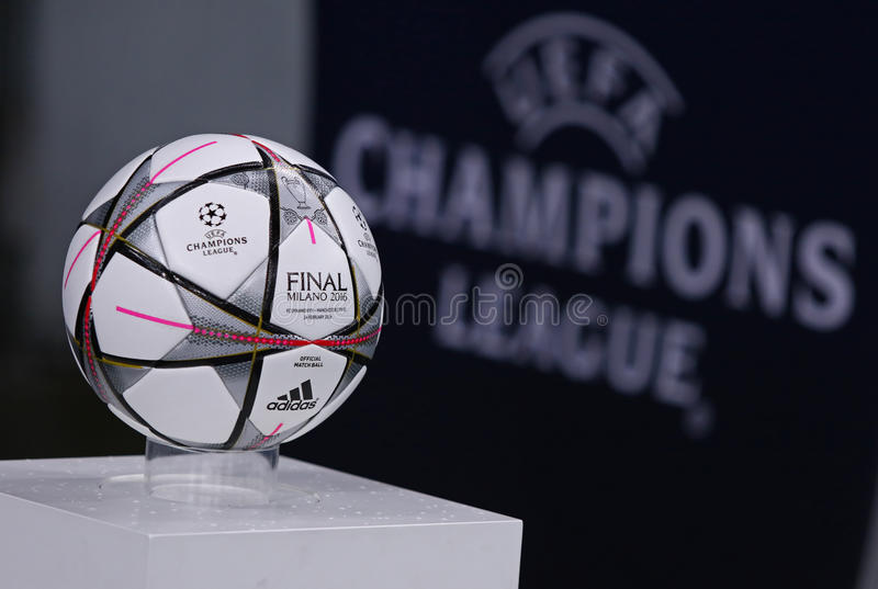 UEFA Champions League game FC Dynamo Kyiv vs Manchester City in. KYIV, UKRAINE - FEBRUARY 24, 2016: Official UEFA Champions League 2016 season ball (Adidas Final royalty free stock images
