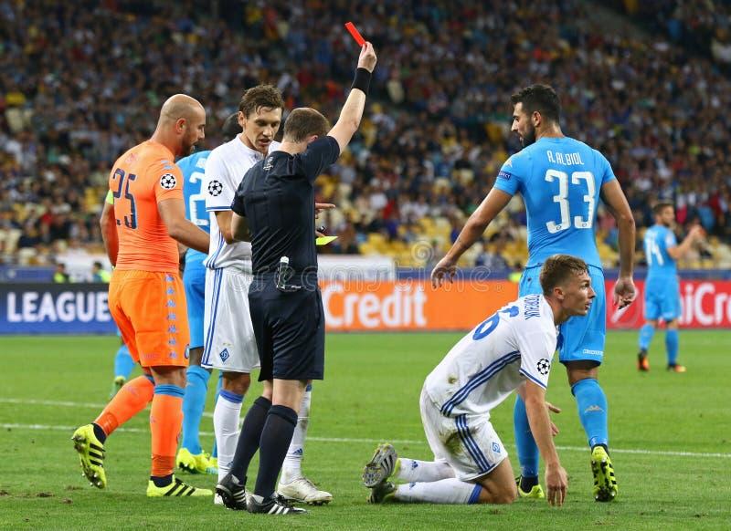 UEFA Champions League game FC Dynamo Kyiv vs Napoli. KYIV, UKRAINE - SEPTEMBER 13, 2016: Referee William Collum shows red card to Serhiy Sydorchuk of Dynamo Kyiv stock photo