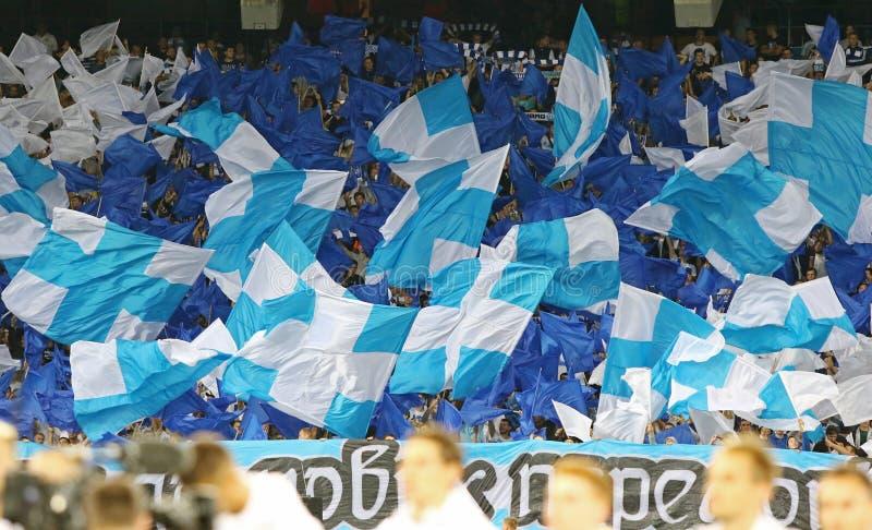UEFA Champions League game FC Dynamo Kyiv vs Napoli. KYIV, UKRAINE - SEPTEMBER 13, 2016: FC Dynamo Kyiv ultra supporters (ultras) perform during UEFA Champions royalty free stock images