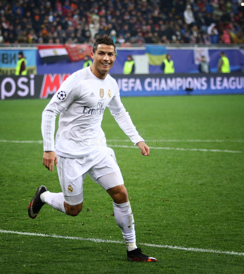 UEFA Champions League game Shakhtar vs Real Madrid. LVIV, UKRAINE - NOVEMBER 25, 2015: Cristiano Ronaldo of Real Madrid reacts after scored a goal during UEFA royalty free stock images