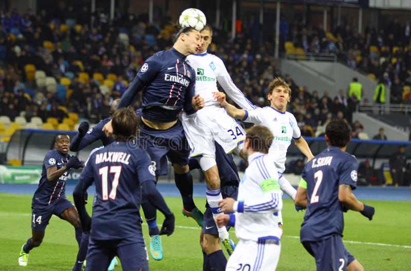 UEFA Champions League gemowy dynamo Kyiv vs PSG obrazy royalty free