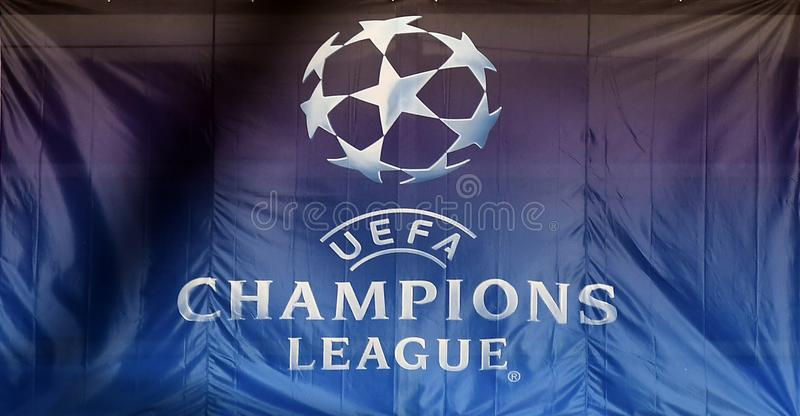 UEFA Champions League logo on flag. Players pictured during the UEFA Champions League Round of 16 game between Tottenham Hotspur and Juventus Torino held on stock photos