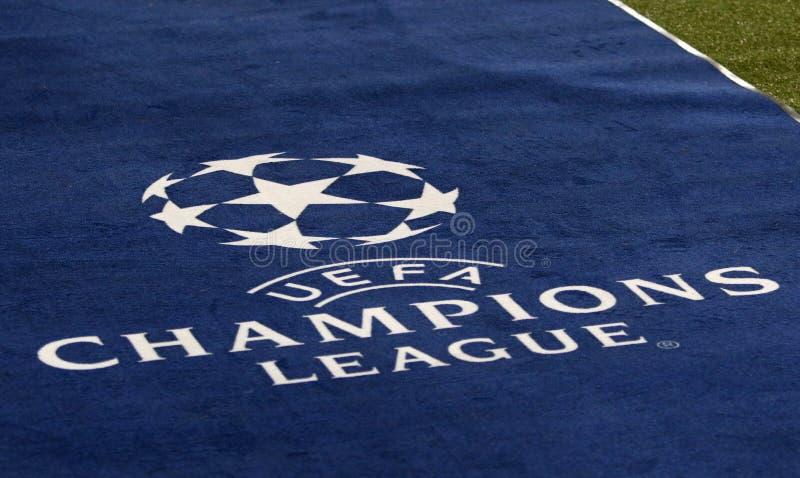 UEFA Champions League logo. KHARKIV, UKRAINE - OCTOBER 23, 2018: Official UEFA Champions League logo on the carpet during the UEFA Champions League game Shakhtar stock image