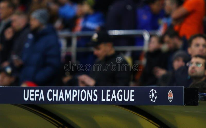 UEFA Champions League logo. KHARKIV, UKRAINE - OCTOBER 23, 2018: UEFA Champions League logo seen on the decoration board at OSK Metalist stadium in Kharkiv royalty free stock image