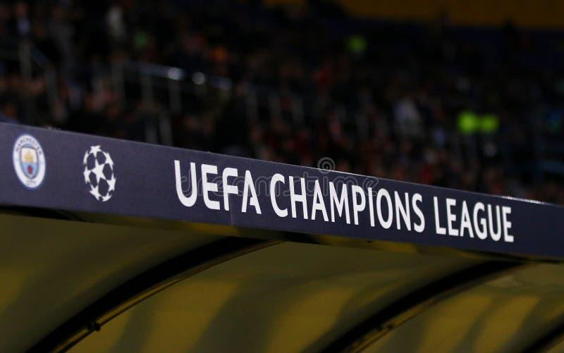 UEFA Champions League logo. KHARKIV, UKRAINE - OCTOBER 23, 2018: UEFA Champions League logo seen on the decoration board at OSK Metalist stadium in Kharkiv royalty free stock photos