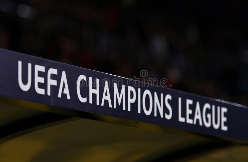 UEFA Champions League logo. KHARKIV, UKRAINE - OCTOBER 23, 2018: UEFA Champions League logo seen on the decoration board at OSK Metalist stadium in Kharkiv stock photography