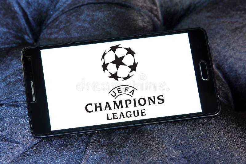 Uefa champions league logo. Logo of uefa champions league on samsung mobile phone stock image