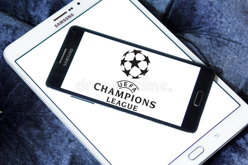 Uefa champions league logo. Logo of uefa champions league on samsung mobile phone on samsung tablet stock image