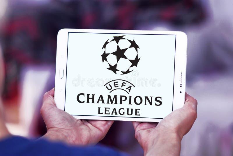 Uefa champions league logo. Logo of uefa champions league on samsung tablet royalty free stock photo