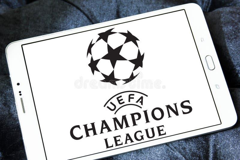 Uefa champions league logo. Logo of uefa champions league on samsung tablet stock photos