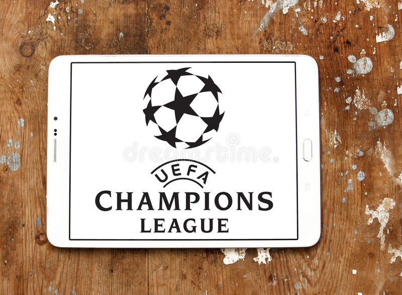 Uefa champions league logo. Logo of uefa champions league on samsung tablet on wooden background stock photography