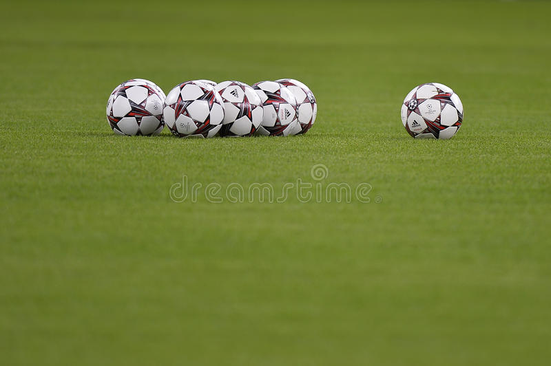 Uefa Champions League official balls. Pictured before the game between Steaua Bucharest (Romania) and Chelsea London (England), Bucharest, National Arena stock photos