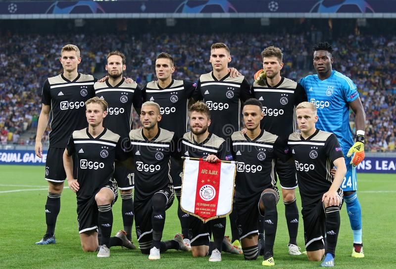 UEFA Champions League play-off: FC Dynamo Kyiv v Ajax. KYIV, UKRAINE - AUGUST 28, 2018: AFC Ajax players pose for a group photo before the UEFA Champions League stock photography