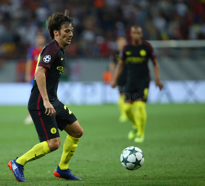 UEFA CHAMPIONS LEAGUE QUALIFICATION – STEAUA BUCHAREST vs. MANCHESTER CITY. Manchester City's David SIlva in action during the UEFA Champions royalty free stock photography