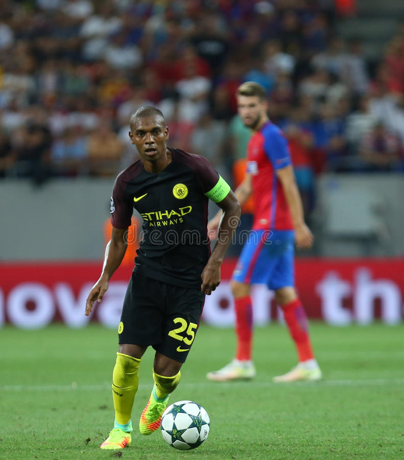 UEFA CHAMPIONS LEAGUE QUALIFICATION – STEAUA BUCHAREST vs. MANCHESTER CITY. Manchester City's Fernando Luiz Roza ''FERNANDINHO'' in action during stock photos