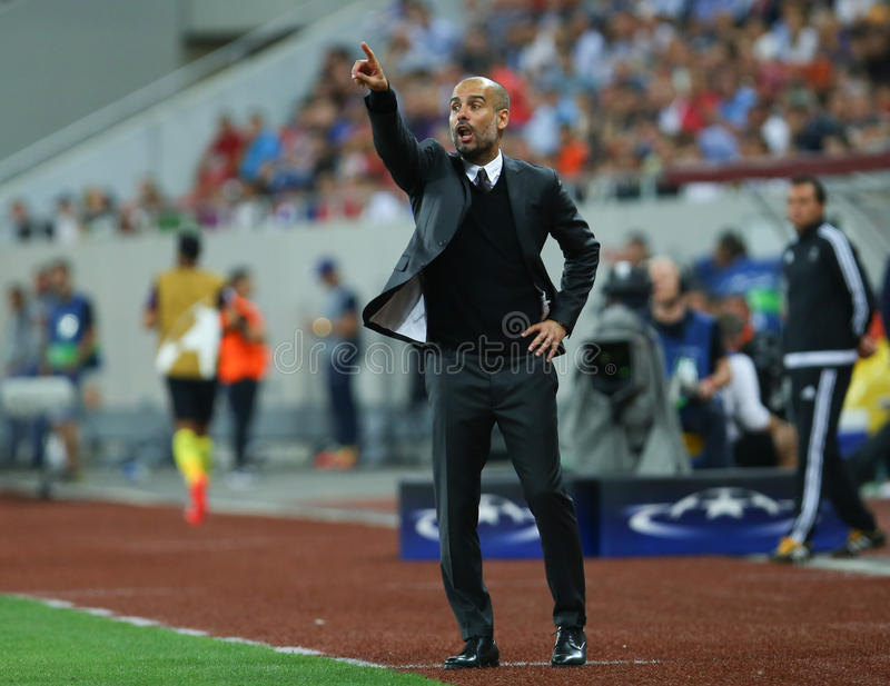 UEFA CHAMPIONS LEAGUE QUALIFICATION – STEAUA BUCHAREST vs. MANCHESTER CITY. Manchester City's head coach Pep Guardiola in action during the UEFA stock photo