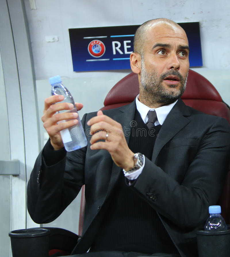 UEFA CHAMPIONS LEAGUE QUALIFICATION – STEAUA BUCHAREST vs. MANCHESTER CITY. Manchester City's head coach Pep Guardiola in action during the UEFA royalty free stock photos